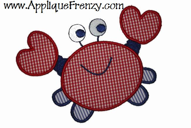 Crab Applique Design-crab, sea life, ocean, sea animals