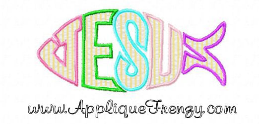 Jesus Fish Applique and Embroidery Design
