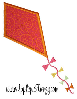 Kite Applique Design-KITE, SPRING, FLOWERS,
