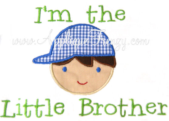Little Brother Boy Applique Design-LITTLE BROTHER, BIG BROTHER, SIBLING