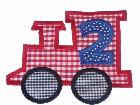 Train Applique Design-train, birthday train, one, two