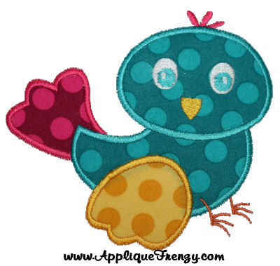 Birdy Applique Design-spring, bird, flowers, easter, fresh