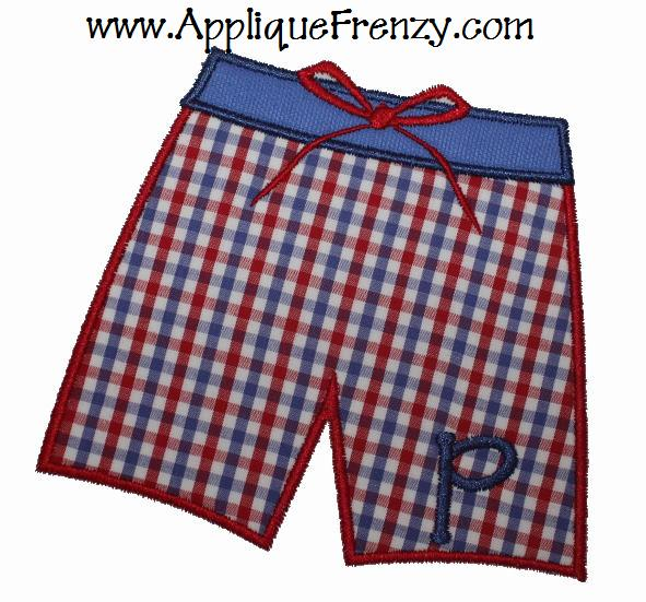 Boys Swimming Trunks Applique Design-boys, summer, surf, swimming suit, bathing suit