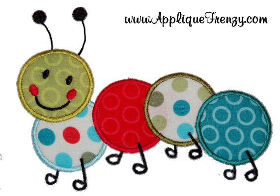 Caterpillar Applique Design-caterpillar, bug, spring