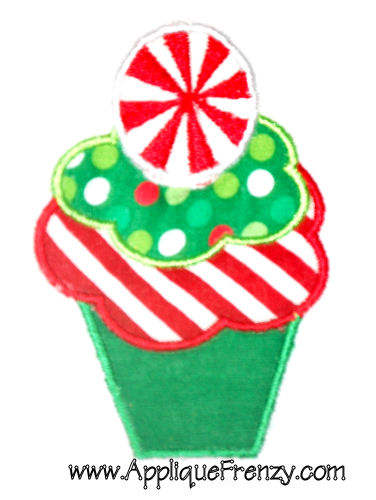 Christmas Cupcake Applique Design-christmas, pepermint, candy, snowman, santa