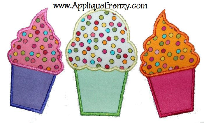 Cupcake Trio Applique Design