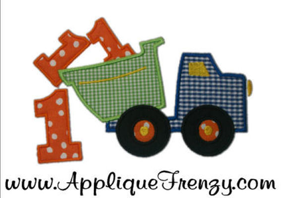 First Birthday Dumptruck Applique Design-birthday, dumptruck, big one, first birthday, bday, 1st bday, 1st bday, boy birthday