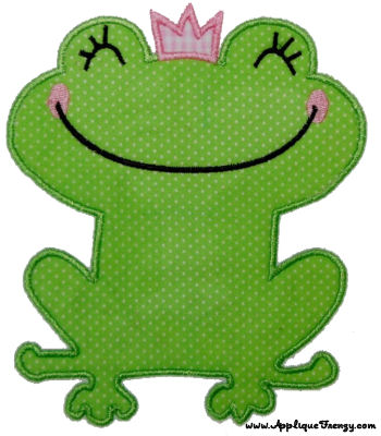 Frog Princess Applique Design-frog, princess, princess and the frog, queen, ribbit, fariy tale