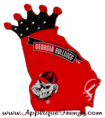 Georgia Princess Applique Design-GEORGIA, BULLDOGS, PEACH, GEORGIA PRINCESS