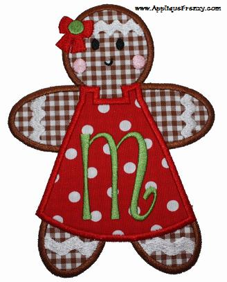 Gingerbread Girl Applique Design-gingerbread girl, christmas, trees, ornaments, holiday