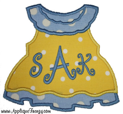 Girls Dress Applique Design