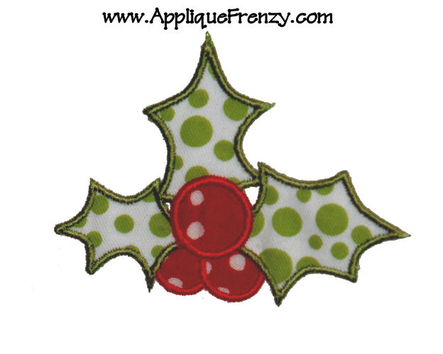 Holly Applique design-holly, christmas, mistletoe