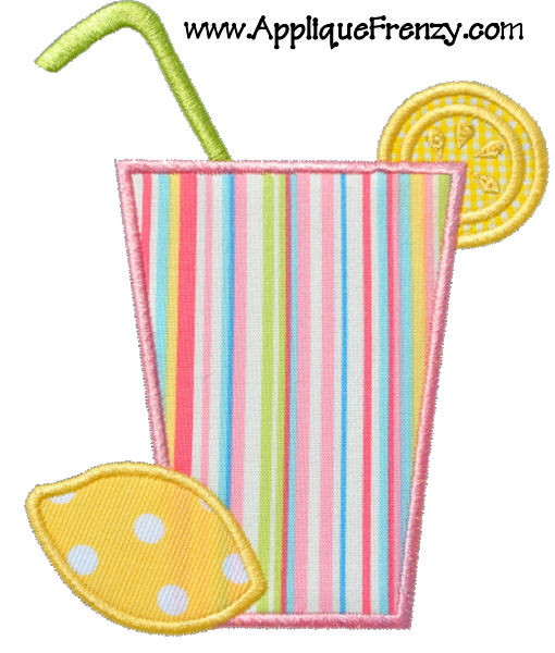 Lemonade Glass Applique Design-lemonade, sun, summer, cool, refresh