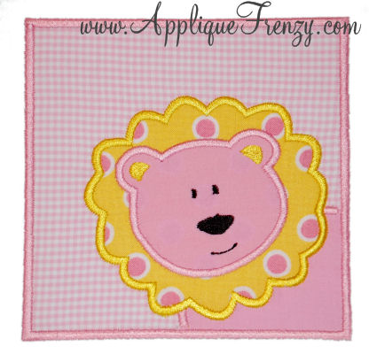 Lion Solid Square Patch Applique Design-lion,patch,girl, cub, square