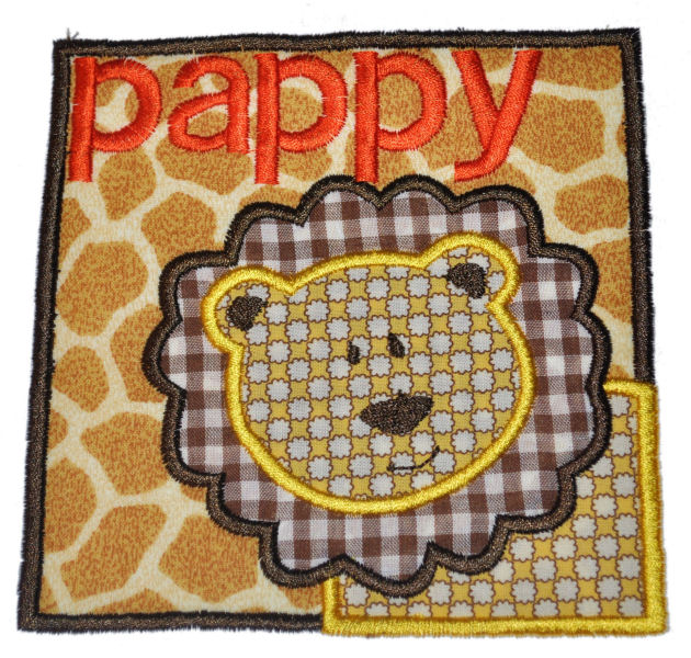Lion Square Patch Applique Design