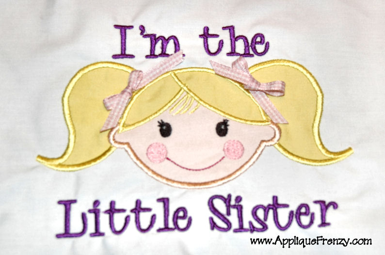 Little Sister Girl Applique Design-lil sis, little sister, lil sister, big sister, sibling, girl, new baby