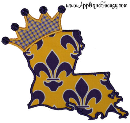 Louisiana Princess Applique Design-louisianna, swamp, lsu, fleur de lis