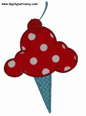 Mega Scoop Ice Cream Cone Applique Design