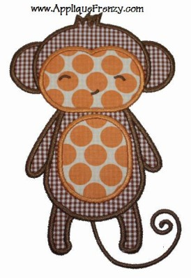 Monkey Applique Design-monkey, animal, safari