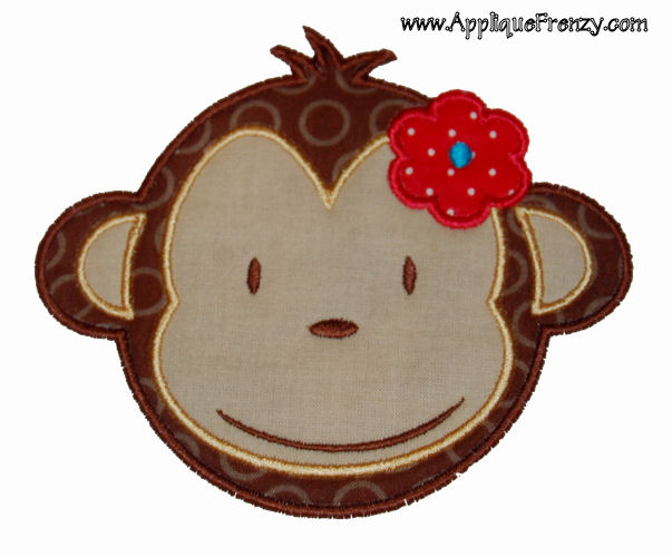 Monkey Girl Applique Design-monkey, mod monkey, girl monkey, hawaihan monkey