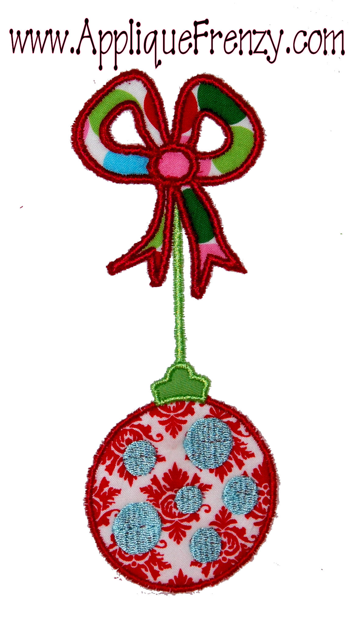 Ornament on a Bow Applique Design-