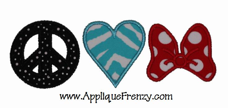 Peace, Love, Bow Applique Design-peace, love, bow, girl, southern, south, minnie,