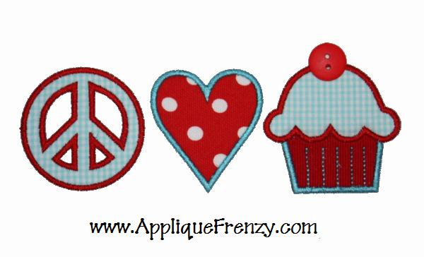 Peace Love Cupcake Applique Design-birthday, peace, love, heart, cupcake