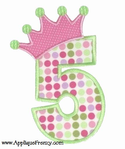Princess Crown Birthday Numbers Applique Font Design