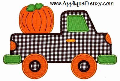Pickup Truck Pumpkin Applique Design-pumpkin, truck, pickup, harvest, fall autumn, boy
