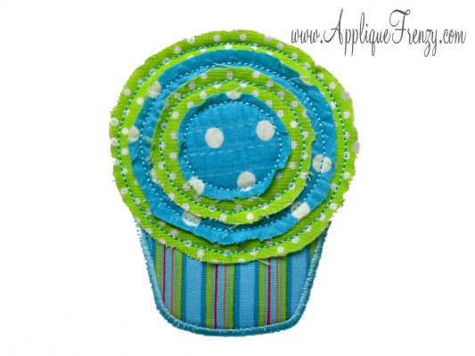 Raggy Cupcake Applique Design-cupcake, sweets, candy, raggy, birthday, bday