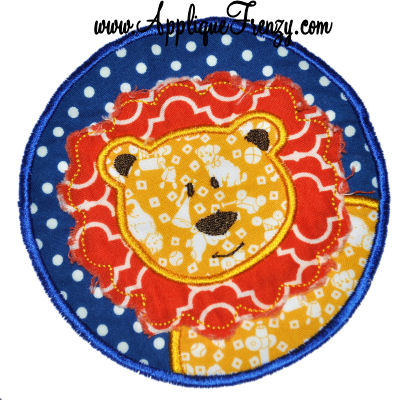 Raggy Lion Mane Circle Patch Applique Design-animal, patch, lion, raggy