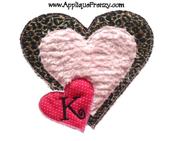 Raggy Triple Heart Applique Design-
