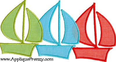 Sailboat Trio Applique Design-
