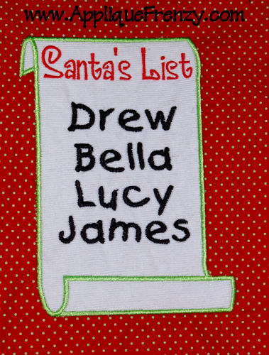 Santa's List Applique Design-santa, christmas, list