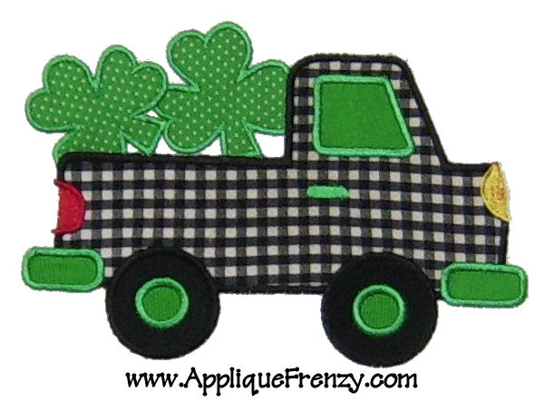 Shamrock Pickup Truck Applique Design-shamrock, luck of irish, irish, kiss me, boys truck, st patty's, st patricks day