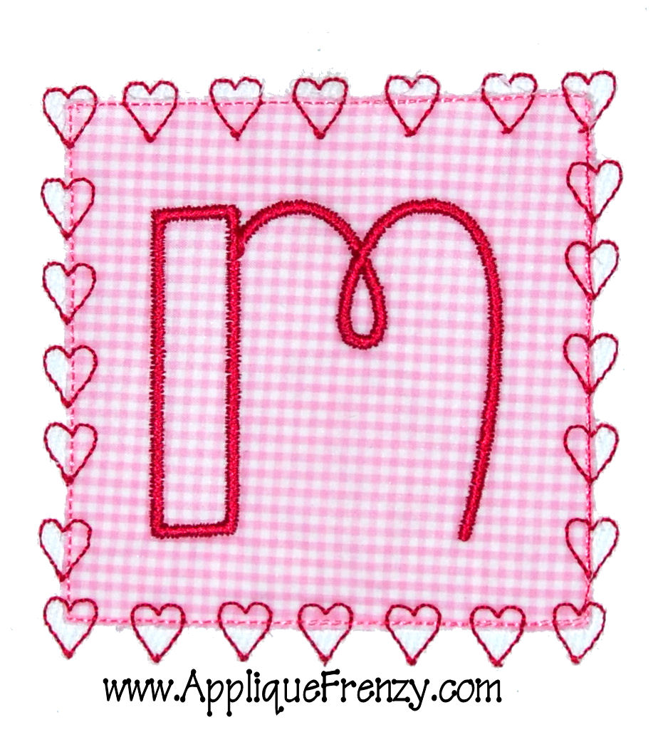 Square Patch HEART STITCH Applique Design-valentine, heart, hearts, love, patch