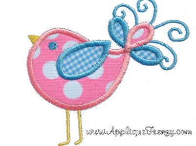 Swirly Bird Applique Design-bird, spring, swirly, whimsical, easter, summer