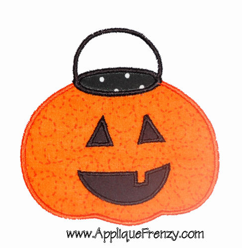 Trick or Treat Pumpkin Basket Applique Design-halloween, trick or treat, fall, ghost, pumpkins, candy