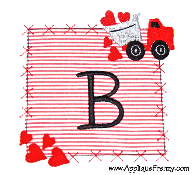 Valentine Dumptruck Square Patch Applique Design-valentine, dumptruck, heart, hearts, patch, x patch