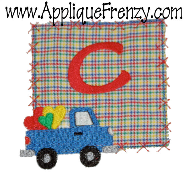 Valentine Pickup Truck Square Patch Applique Design-valentine, pickup, truck,heart, patch, hearts