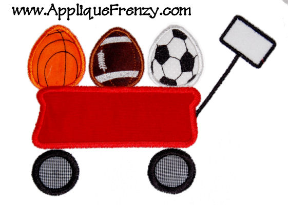 Red Wagon with Sports Ball Eggs Applique Design-egg, easter, sports, ball, wagon