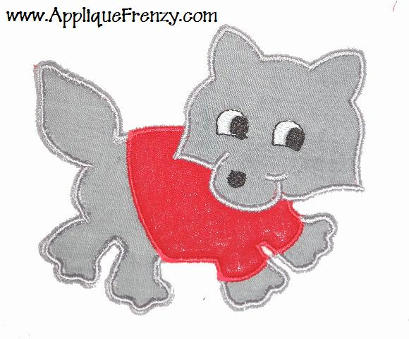 Wolf with Shirt Applique Design
