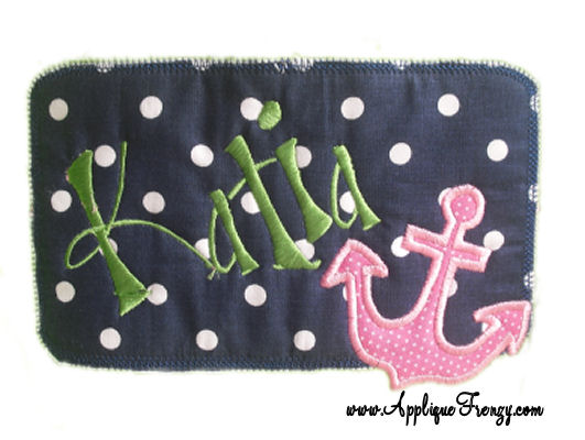 Anchor Rounded Rectangle Patch Applique Design