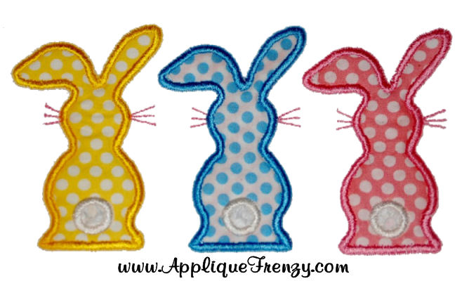 Backview Bunny Trio Applique Design-bunny, trio, backview, backwards, cotton tail, easter, eggs,