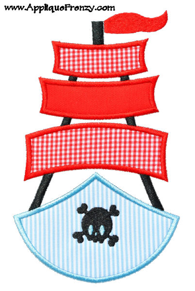 Pirate Boat Applique Design-pirate, boat, ship, summer, kelly's kids