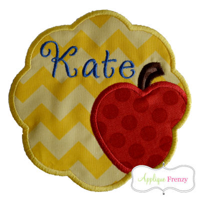 Apple Scallop Patch Applique Design-