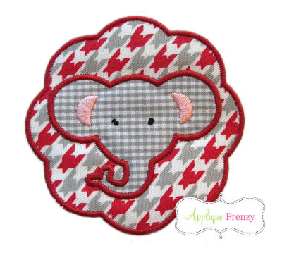 Elephant Scallop Patch Applique Design-