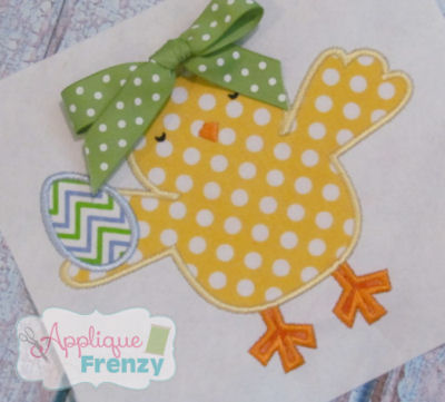 Chick Holding Egg Applique   Design-boy easter chick, girls easter, chick, egg