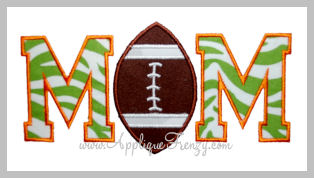 Football Mom Applique Design-