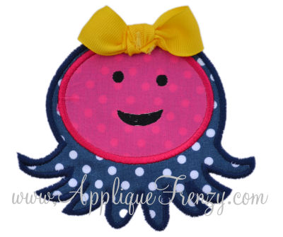 Friendly Octopus Applique Design-